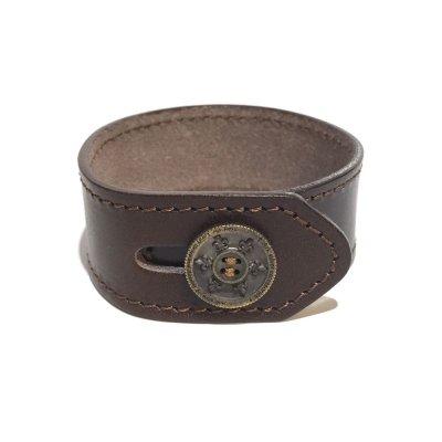リリーボタン シングルレザーブレスレット(ダークブラウン) / Ark silver accessories