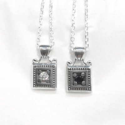 【ペアペンダント】スクエアバースストーンフレーム クリアCZ&ブラックCZ|Ark silver accessories/アーク シルバーアクセサリーズ