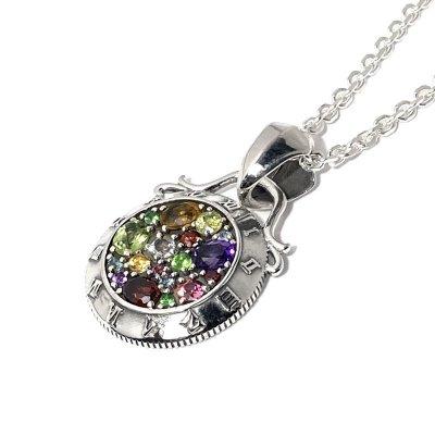 7種の天然石の時計ネックレス|アークシルバーアクセサリーズ